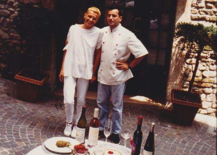 Paolo e moglie all'apertura del ristorante Gallo Rosso di Salò